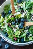 Wilted Spinach Blueberry Bleu Salad with Balsamic Pear Glaze
