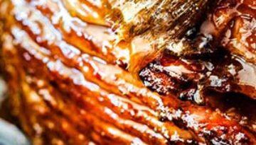 Caramelized Pineapple & Apricot Glazed Ham with Sweet Potatoes