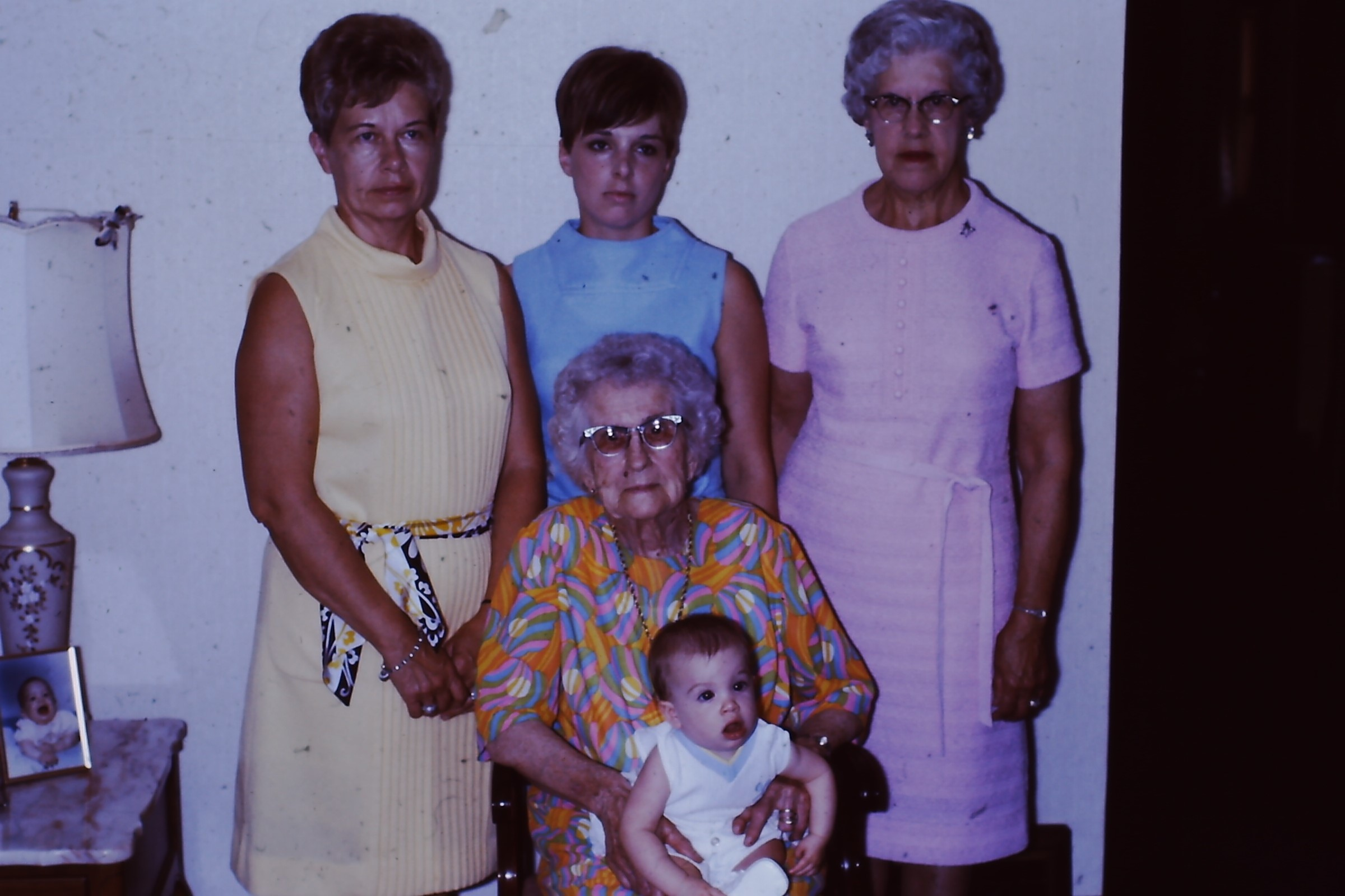 Holly's 5-Generation Family Photo: So lucky, but smiles appear to have been discouraged! (Yup, that's Holly in her Great-Gram's arms.)