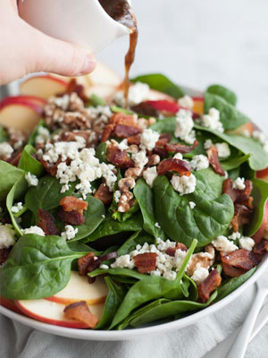 Bacon Bleu Spinach Salad with Pheasant