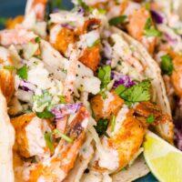 Savory Shrimp Tacos with Avocado & Mango Slaw