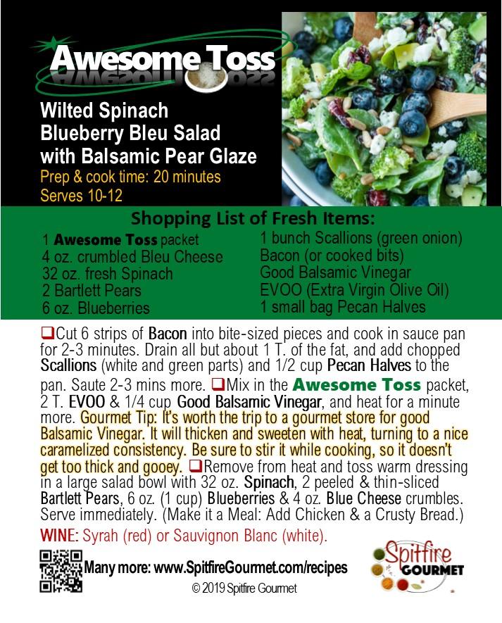 Spinach Blueberry Bleu Salad with Balsamic Pear Glaze