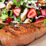 Sweet Balsamic Glazed Salmon with Feta and Berries Spinach Salad