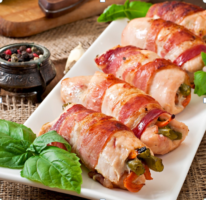 Colorful Bacon-Wrapped Bird Roll-Ups