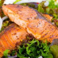 Sweet & Tangy Balsamic Glazed Salmon with Feta & Berries Spinach Salad