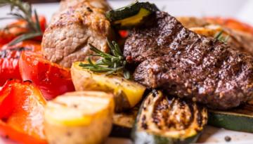 Big Game Steak Marinade with Grilled Marsala Vegetables & Rice