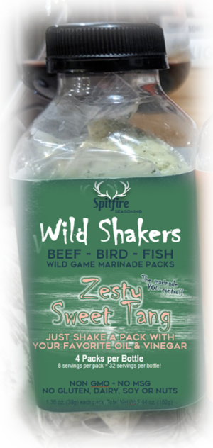 ZESTY SWEET TANG WILD SHAKERS 4 Marinade Packets with 8 servings each. Just dump in a packet with two fresh ingredients and shake for zesty smooth deep flavor on sustainable meats and fish. No GMO's, MSG, Gluten, Dairy, Soy or Nuts