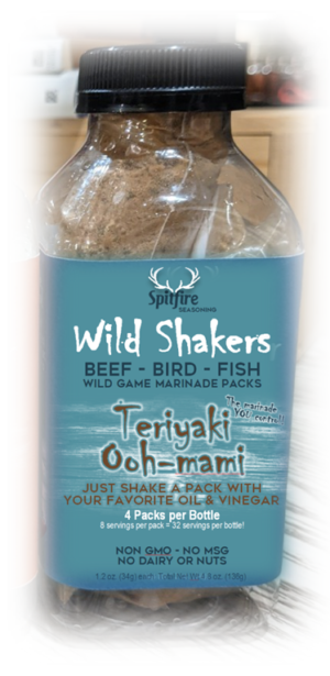 TERIYAKI OOH-MAMI WILD SHAKERS 4 Marinade Packets with 8 servings each. Just dump in a packet with two fresh ingredients and shake for the deepest savory flavor for sustainable meats and fish. No GMO's, MSG, Dairy or Nuts