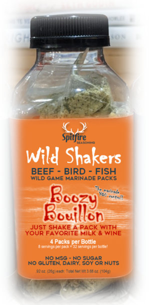 BOOZY BOUILLON WILD SHAKERS 4 Marinade Packets with 8 servings each. Just dump in a packet with two fresh ingredients and shake for the smoothest tender flavorful sustainable meats and fish. No MSG, Gluten, Dairy, Soy, Nuts or Sugar