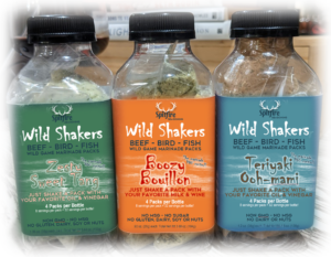 WILD SHAKERS 3-PACK Each bottle contains 4 packets, with 8 servings each. (That's 32 servings in each bottle!) Just dump in one packet with two fresh ingredients and shake for the healthiest most flavorful wild game, bird & fish marinades. No MSG