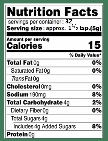 Zesty Sweet Tang Nutrition Info