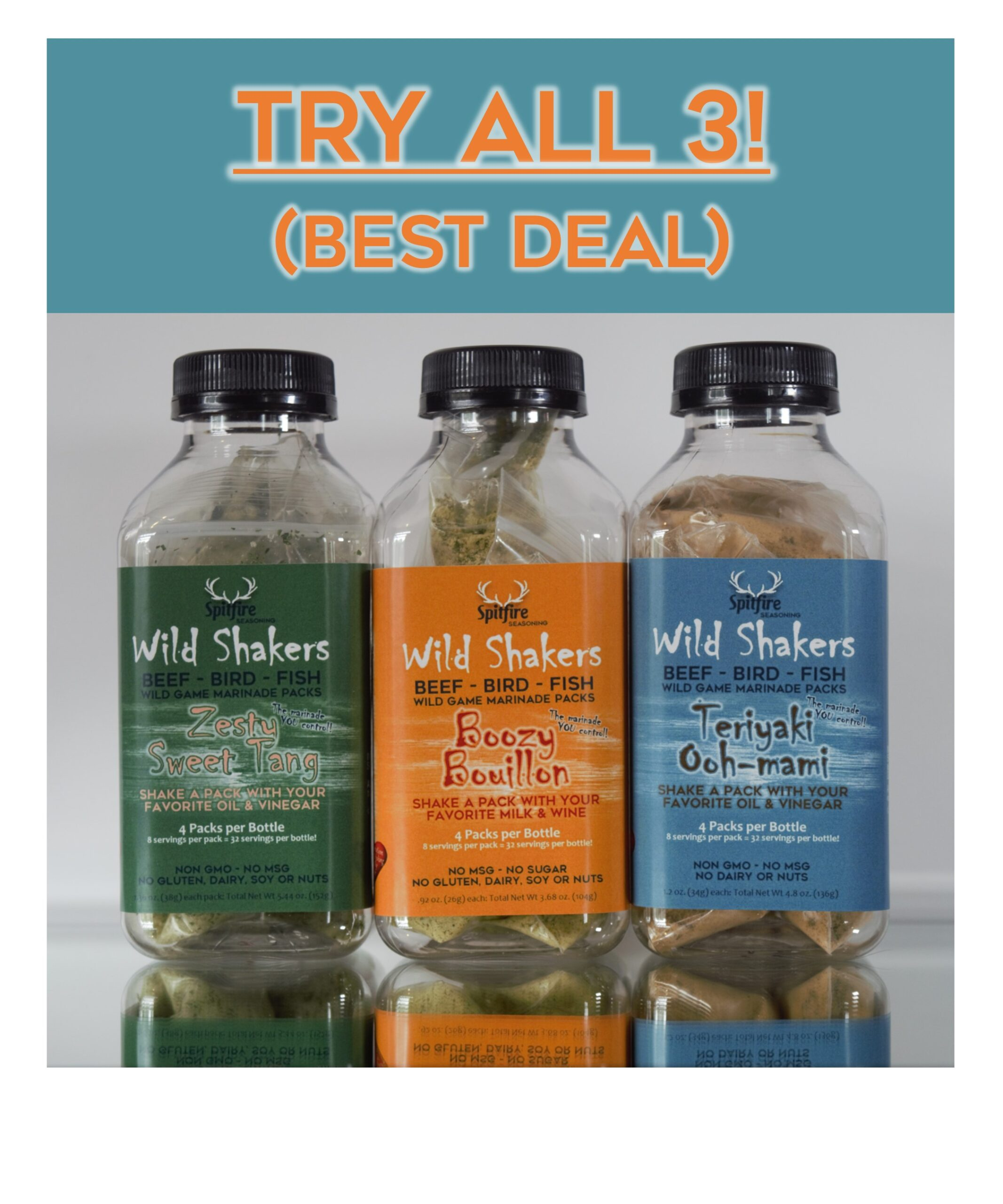 Buy all 3 bottles. Easy marinade packs for game birds and fish.